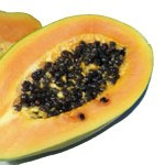aufgeschnittende Papaya